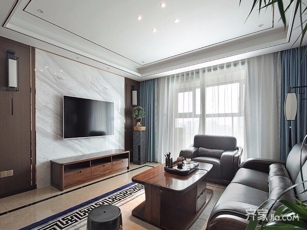 现代中式风格四居客厅吊顶装修效果图