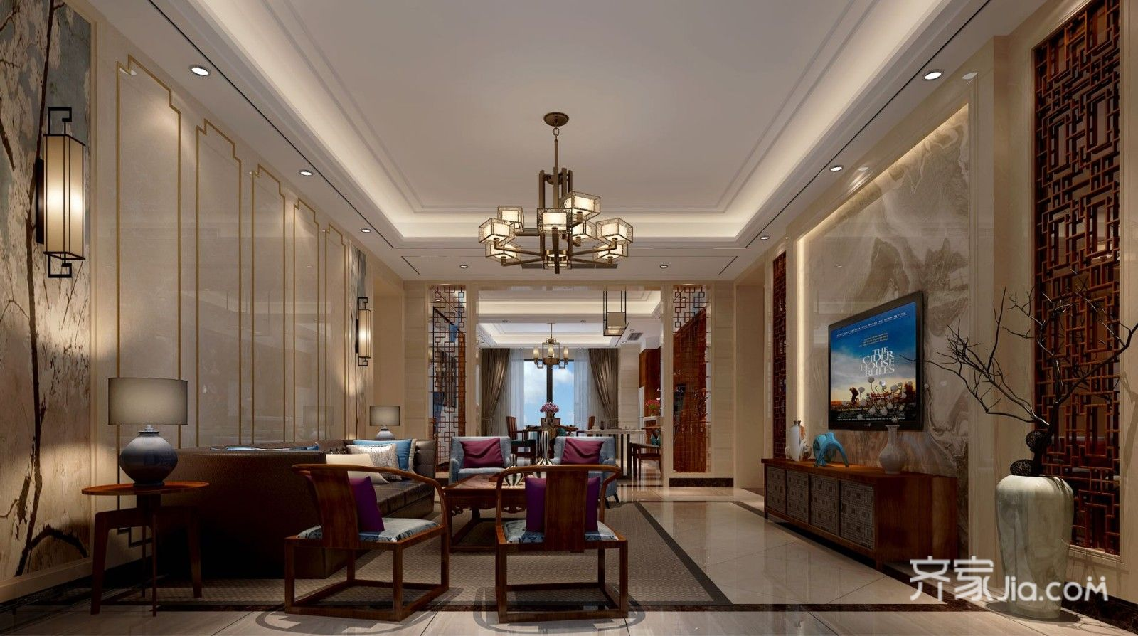 大户型新中式客厅装修效果图