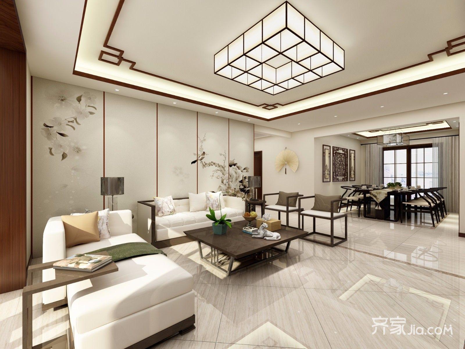 167平新中式风格沙发背景墙装修效果图