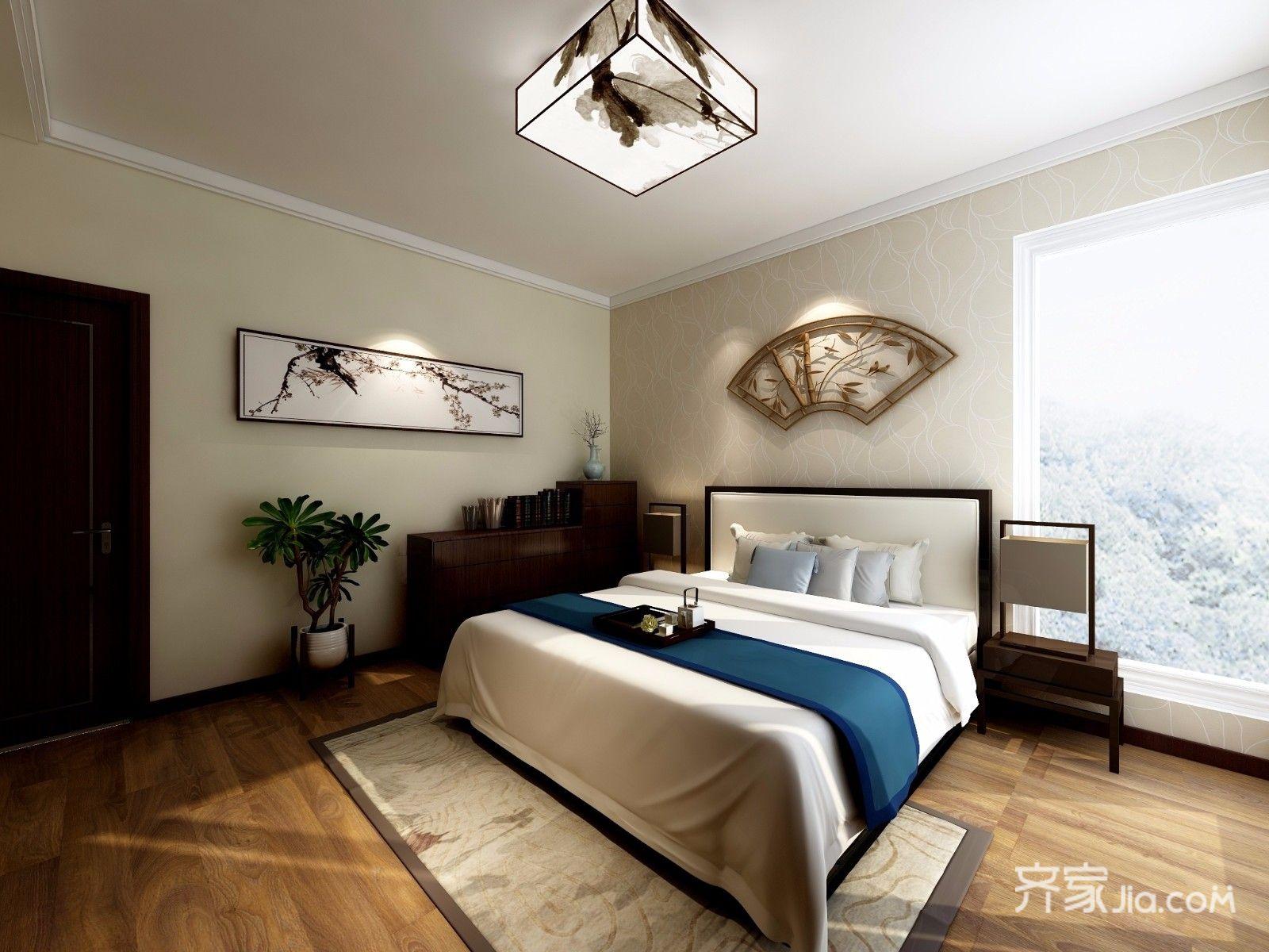 167平新中式风格卧室装修效果图