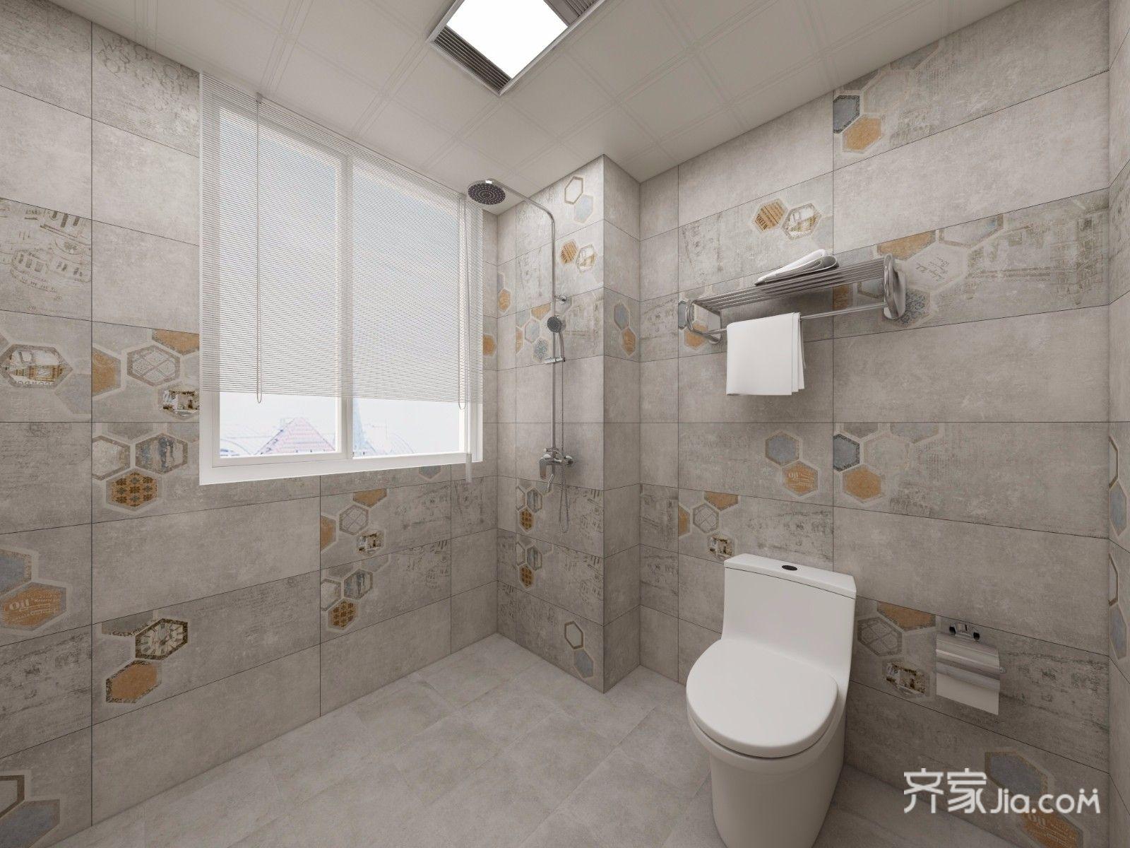 167平新中式风格卫生间装修效果图