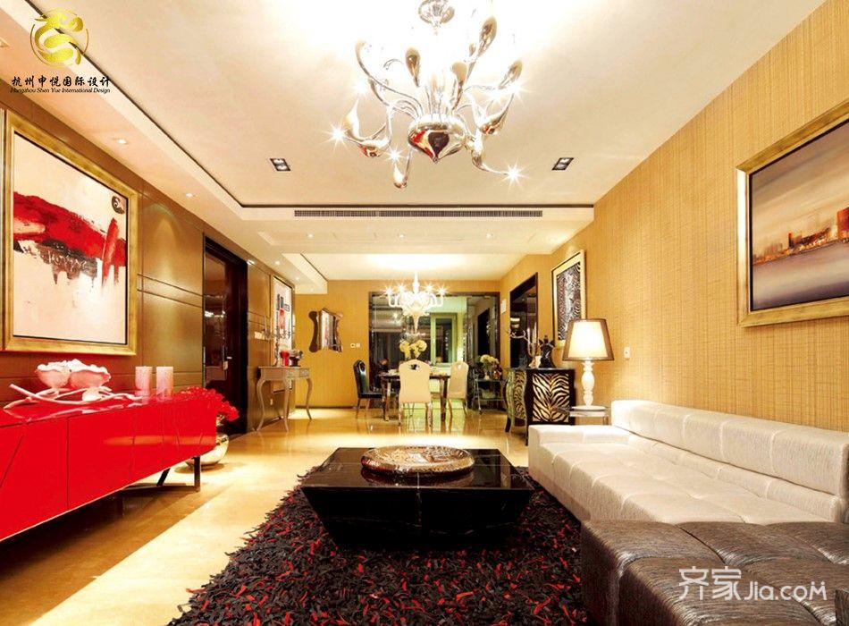 现代欧式混搭四居客厅装修效果图