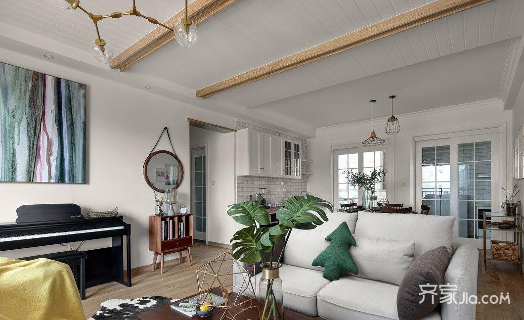 130平北欧风三居客厅装修沙发设计图