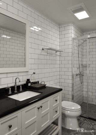 130平北欧风三居装修洗手台设计图