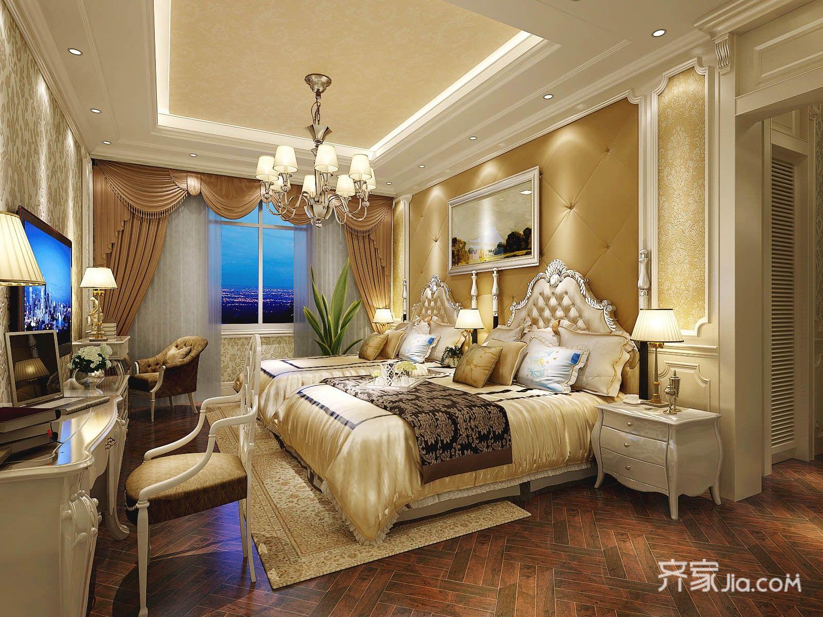 大户型欧式豪华别墅卧室装修效果图