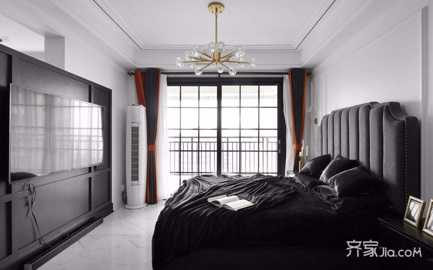 黑白现代轻奢风卧室装修效果图