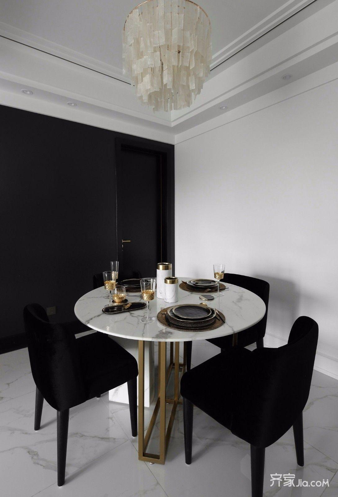 黑白现代轻奢风餐厅装修效果图