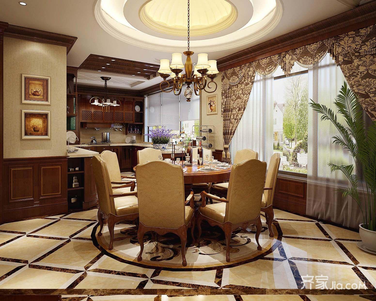 大户型欧式豪华别墅厨餐厅装修效果图