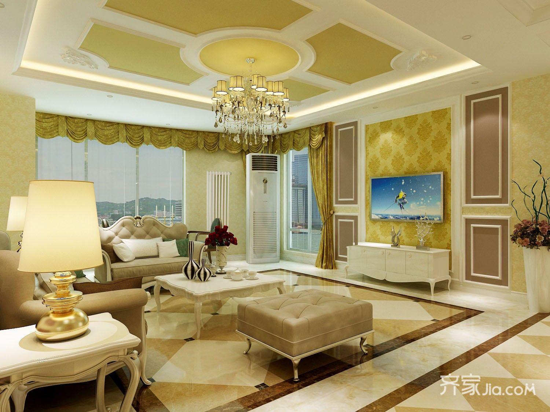 大户型欧式风格三居客厅装修效果图