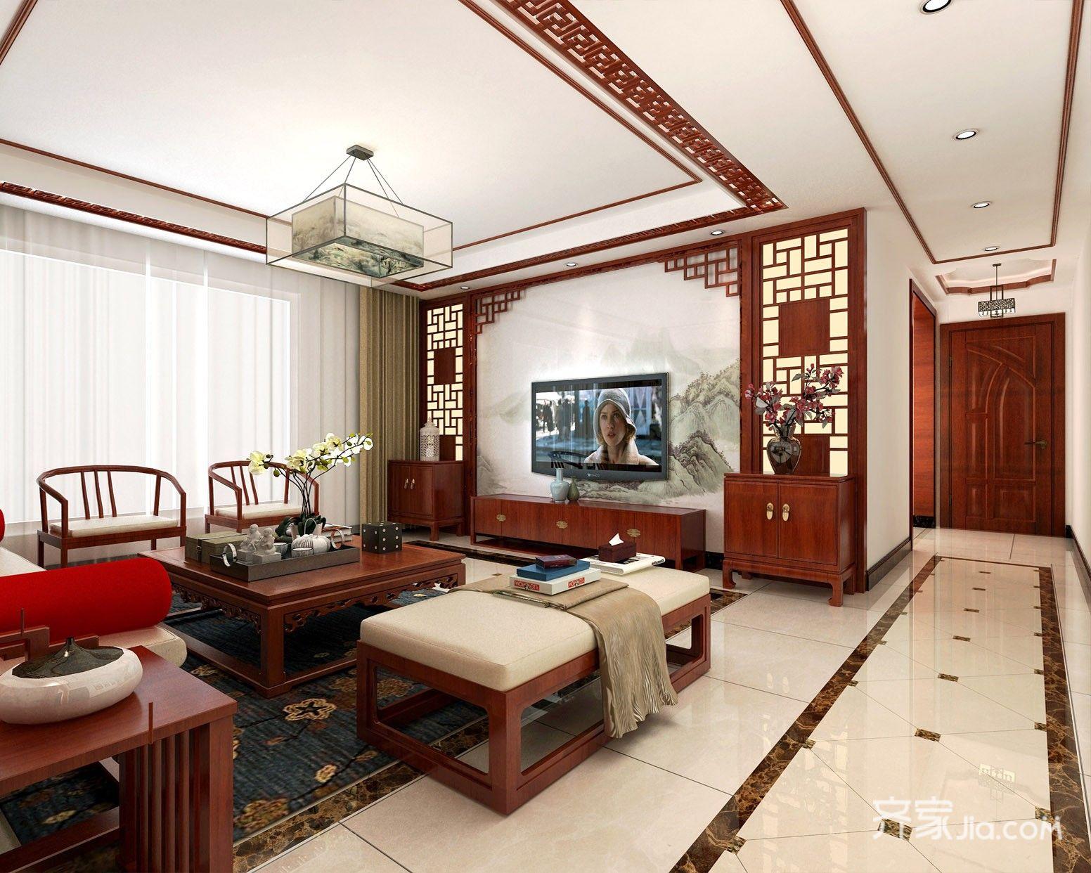 大户型中式四居客厅装修效果图