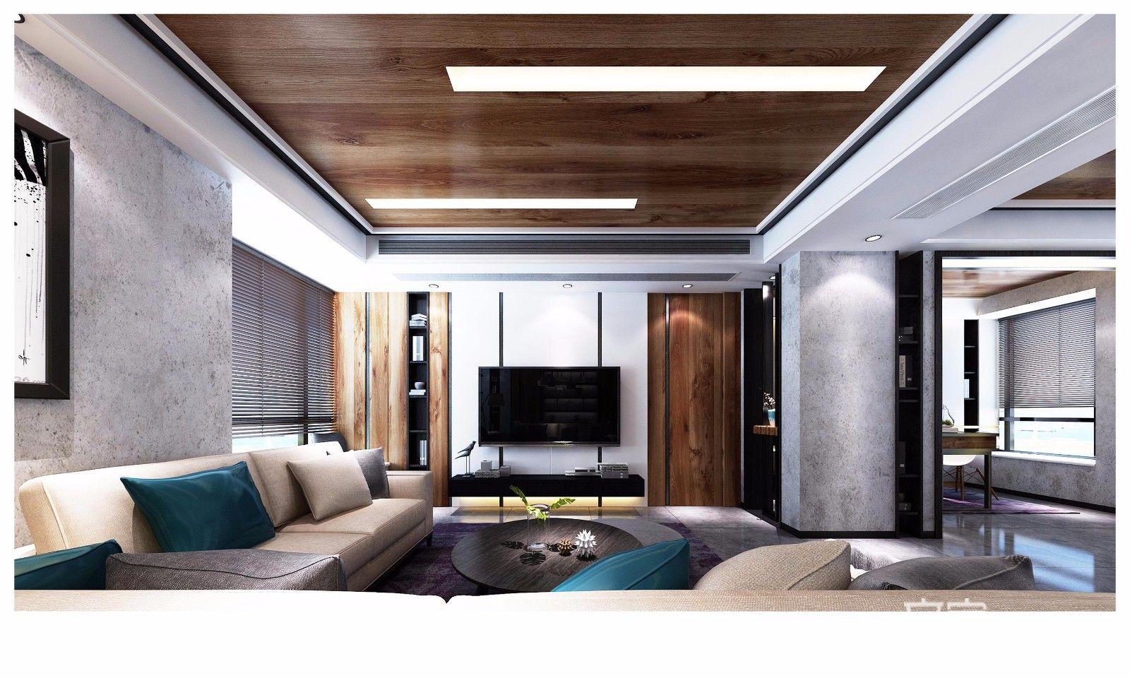 现代混搭风格三居室客厅吊顶装修效果图