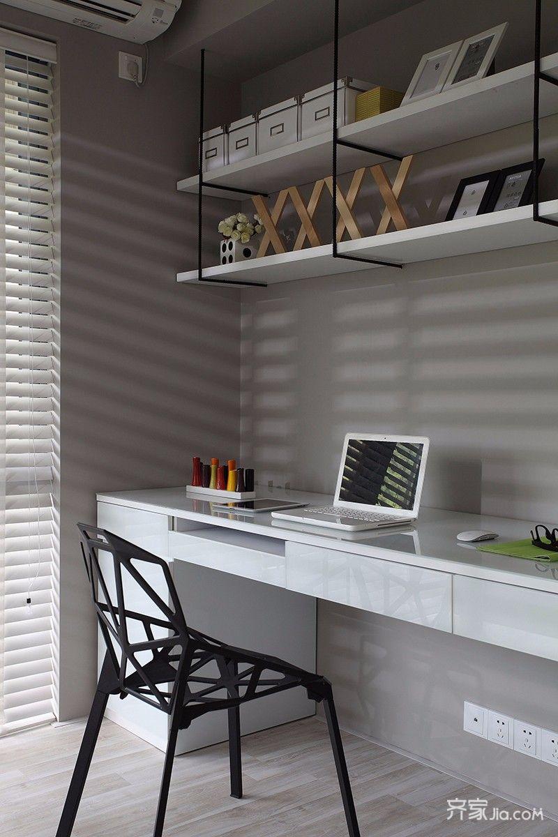 北欧混搭风格两居装修书桌设计图
