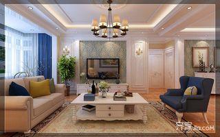 美式风格两居室电视背景墙装修效果图