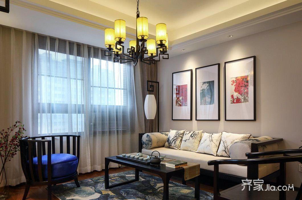 中式风格三居客厅装修设计效果图