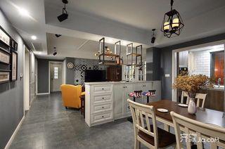 美式工业风三居室装修吧台设计图
