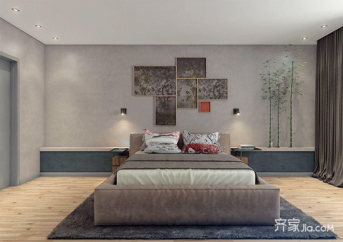 北欧工业风公寓床头背景墙装修设计效果图