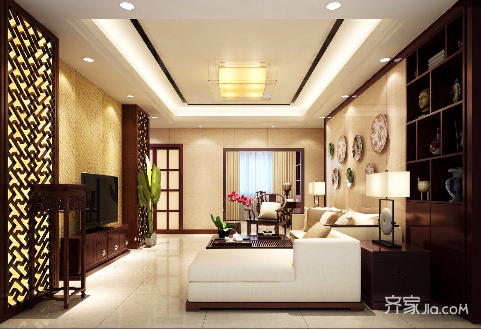 138平中式风格四居客厅装修效果图