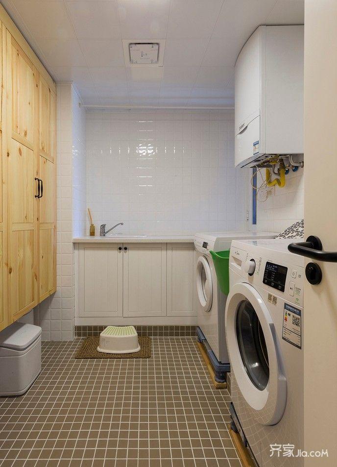 130平简约三居室装修洗衣房设计图
