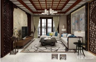 115平中式风格三居装修效果图