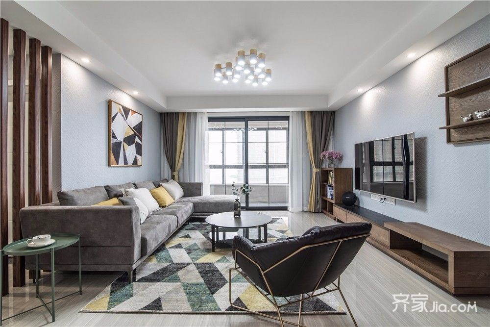 现代简约风四居室客厅装修效果图