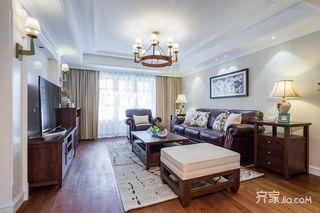140平美式风格三居装修设计图