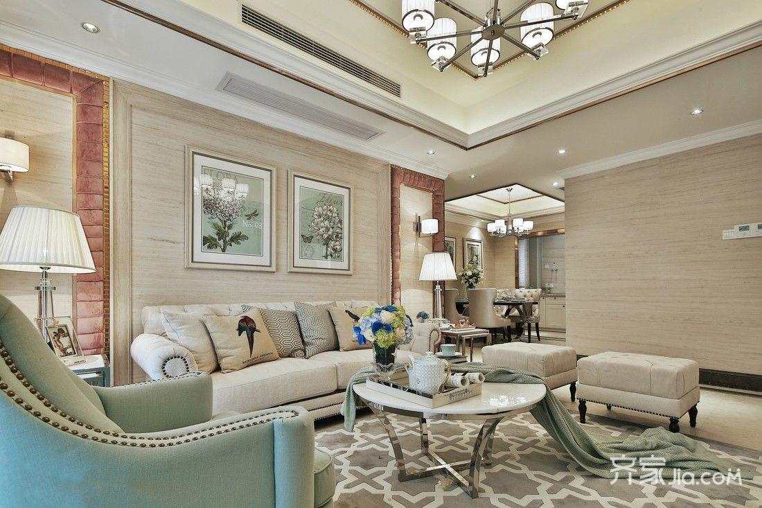 现代欧式风格三居沙发背景墙装修效果图