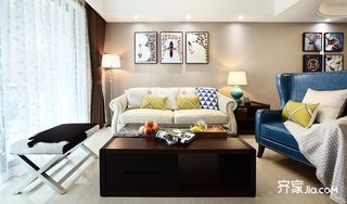 现代混搭三居室沙发背景墙装修效果图