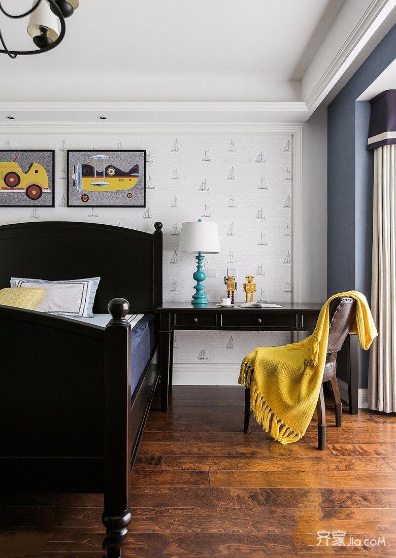 180平美式风格三居装修书桌设计图