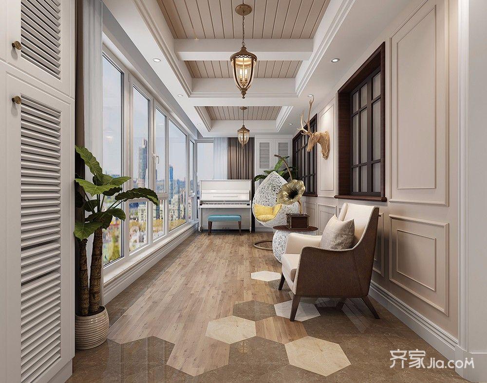 140平美式风格四居阳台装修效果图
