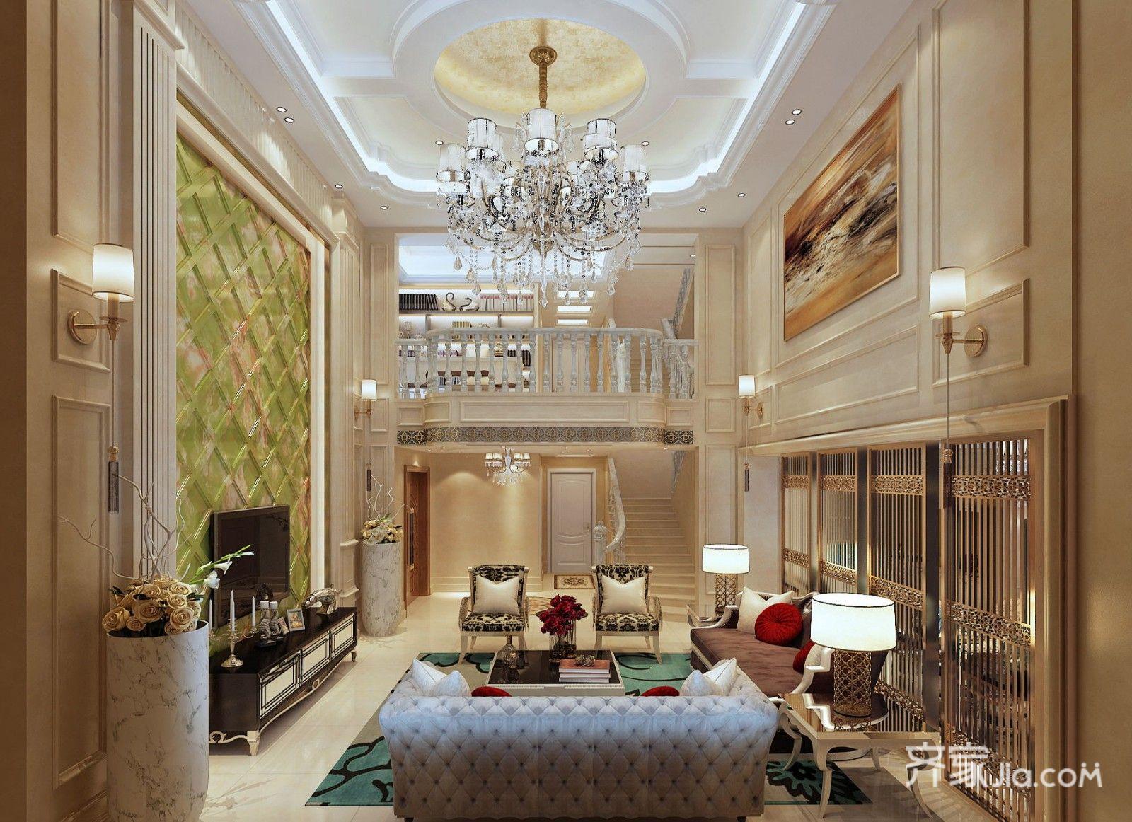 欧式风格复式别墅客厅装修效果图