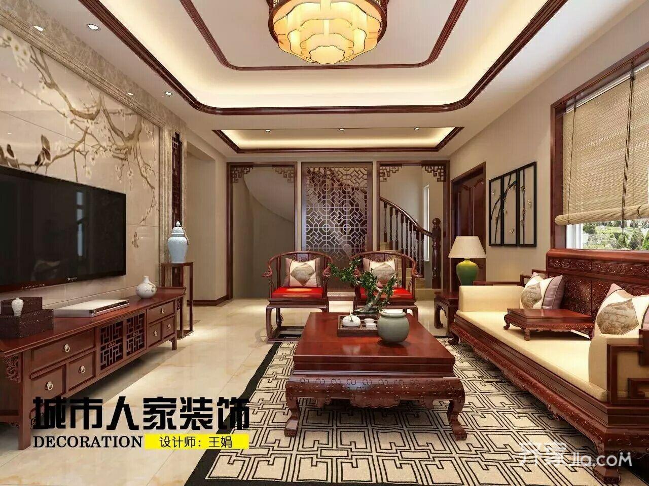 大户型中式别墅客厅装修效果图