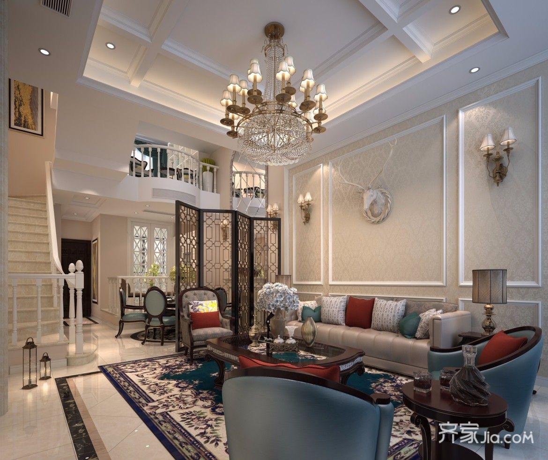 200平欧式风格别墅客厅装修效果图