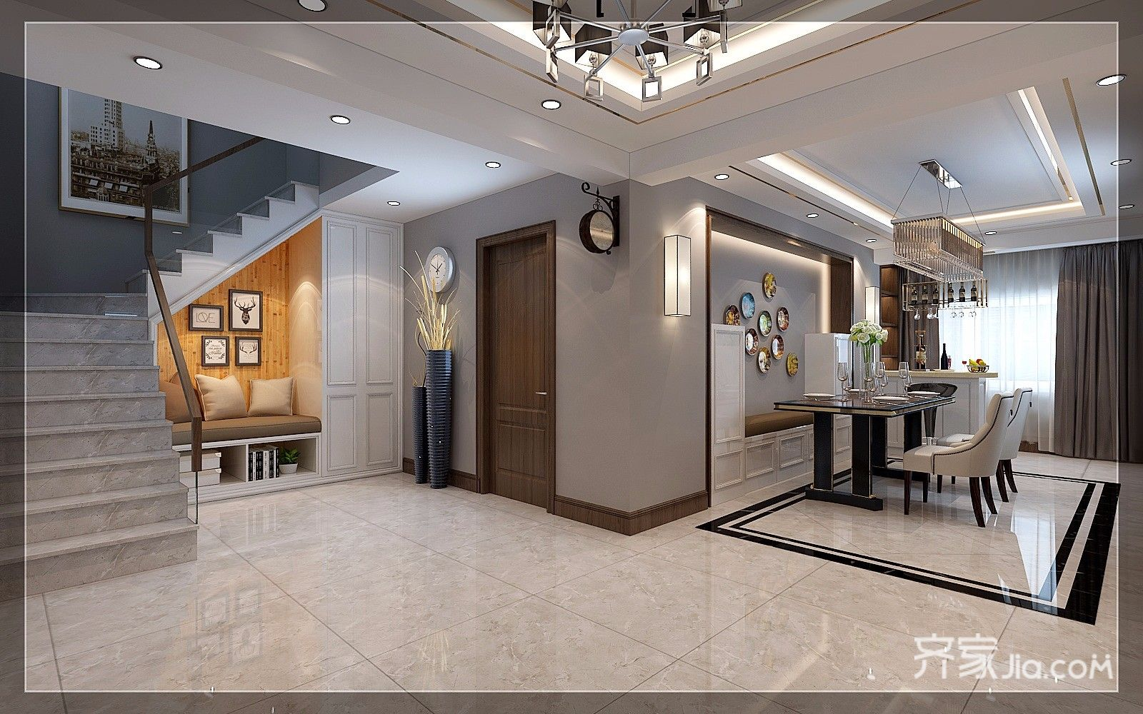 现代奢华复式三居楼梯间装修效果图