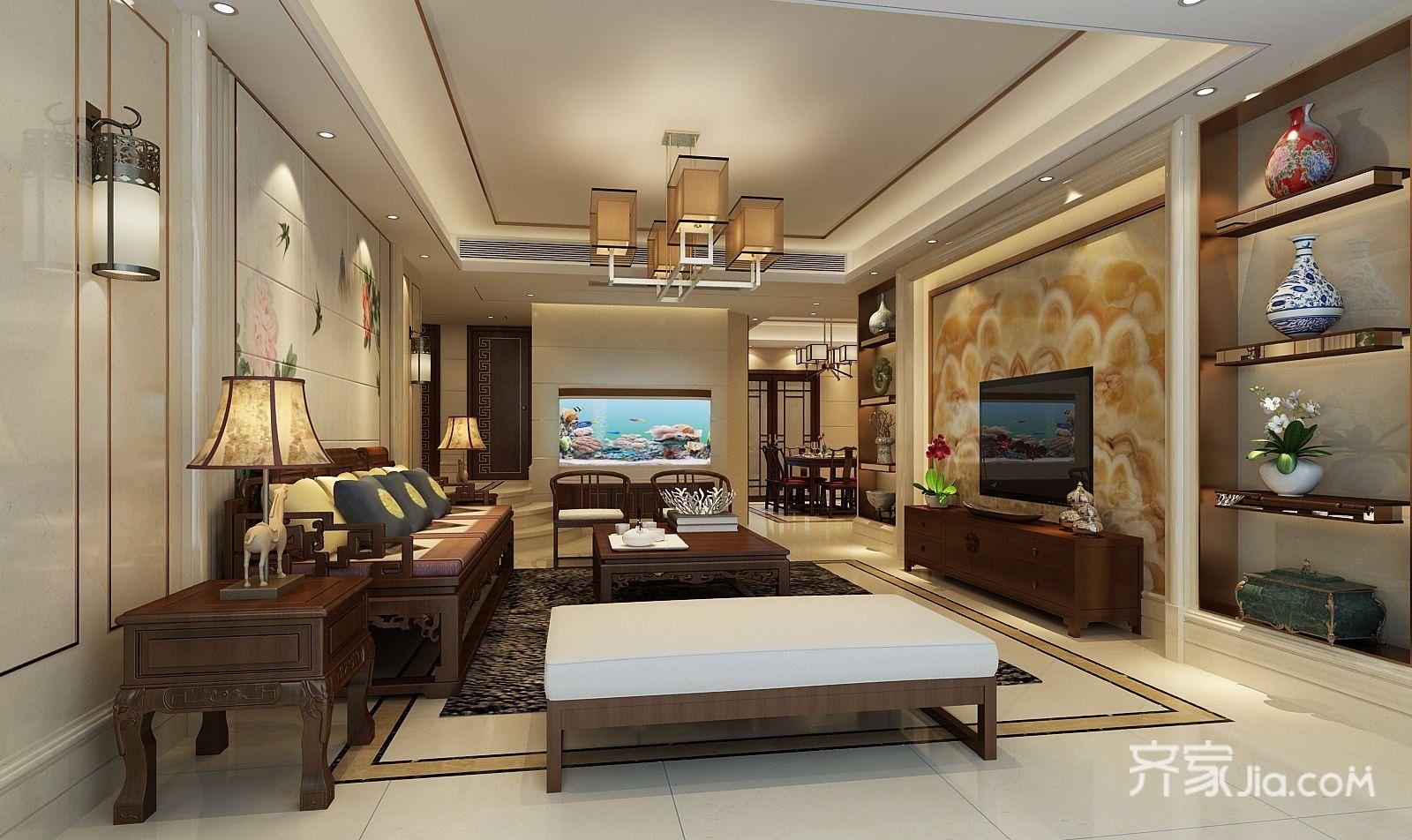 140平米中式风三居客厅装修效果图