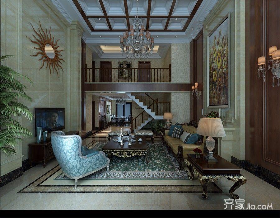 180平米欧式复式装修客厅效果图