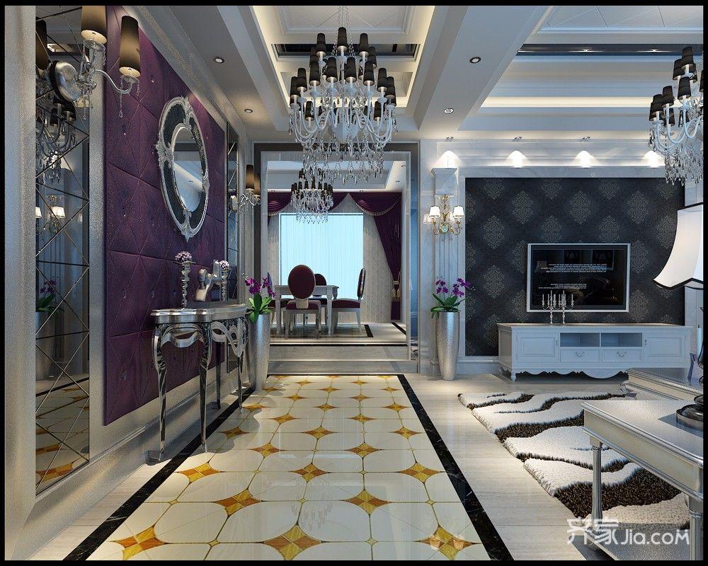 168平欧式风格四房客厅装修效果图