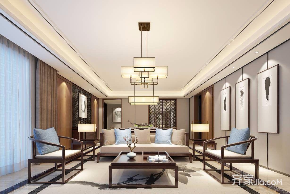 140平米新中式风格客厅装修效果图