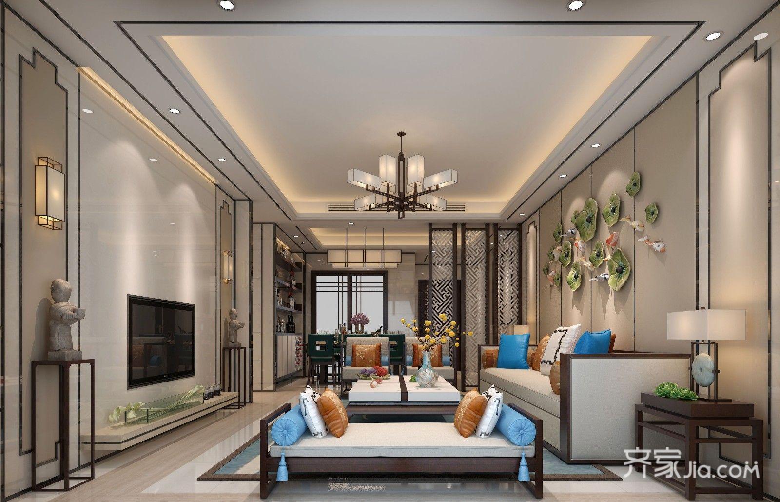 170平新中式三居客厅装修效果图