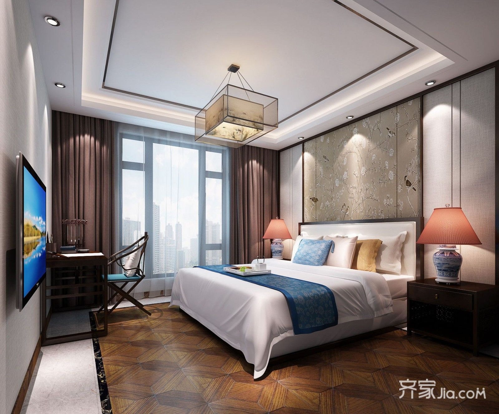 170平新中式三居卧室装修效果图