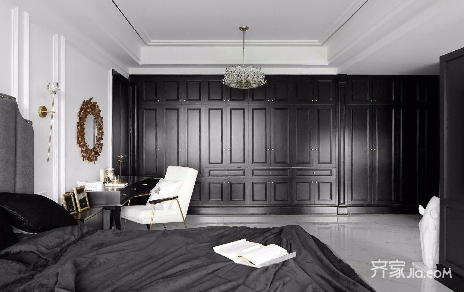 现代轻奢黑白经典风卧室装修效果图