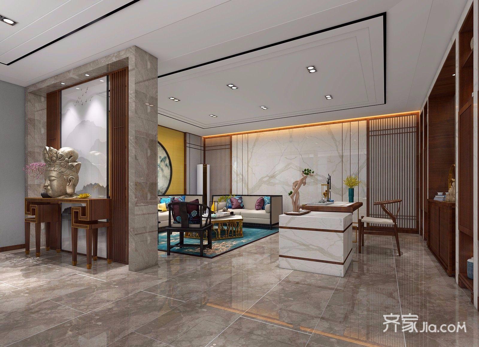 新中式风大户型客厅装修效果图