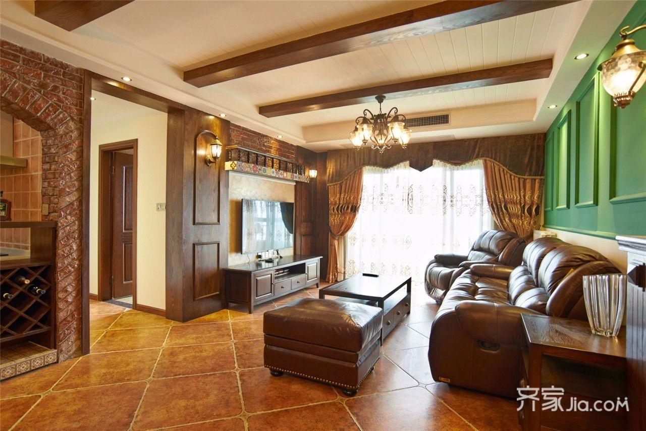 美式风格三居装修电视背景墙设计图
