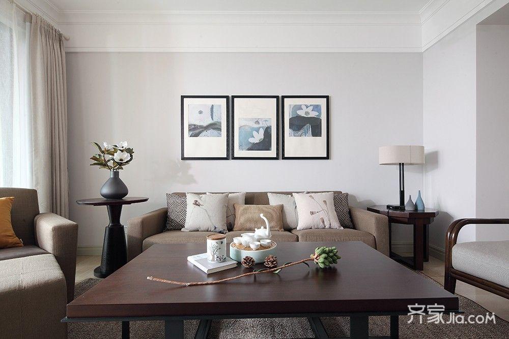 125平简约中式三居沙发背景墙装修设计图