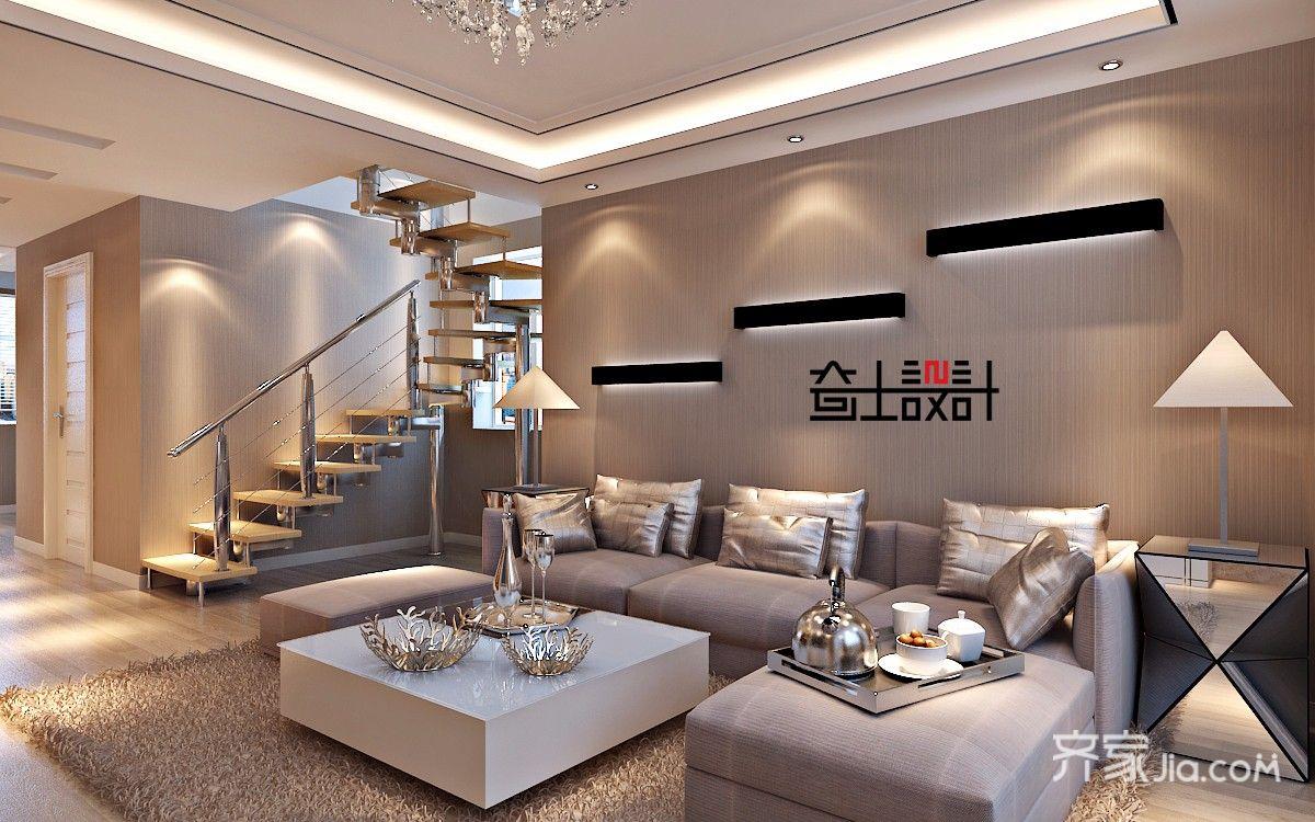 90㎡现代简约复式装修沙发背景墙效果图
