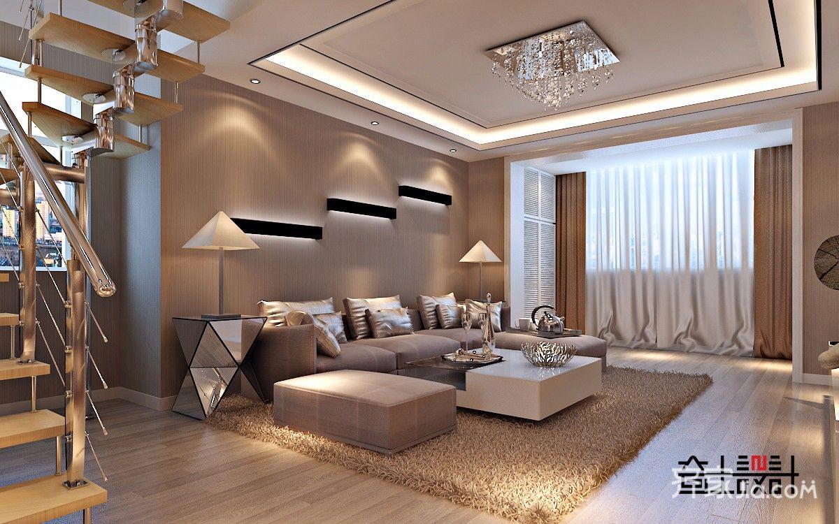 90㎡现代简约复式装修客厅效果图