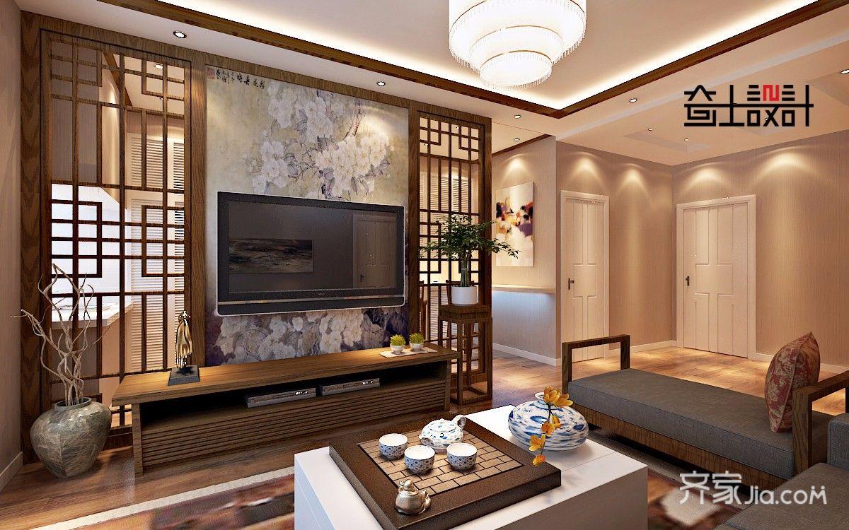 新中式风格二居室客厅装修效果图