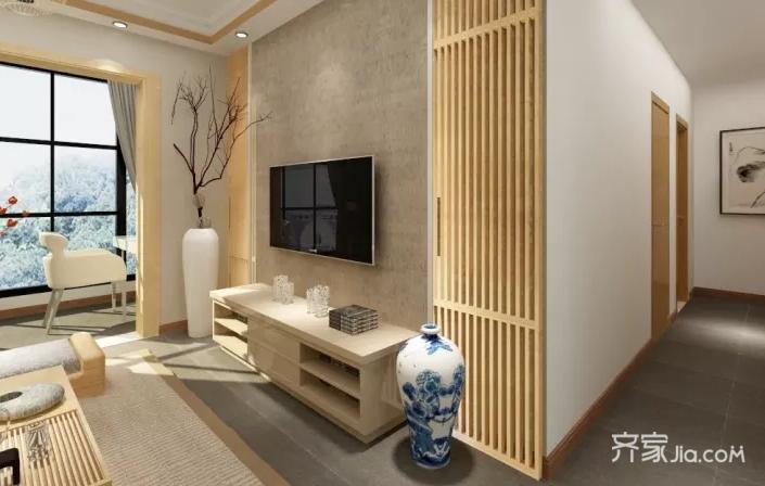 110平米日式风格电视背景墙装修效果图