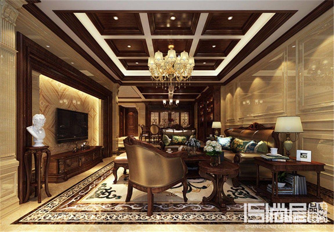 欧式大户型豪华别墅客厅装修效果图