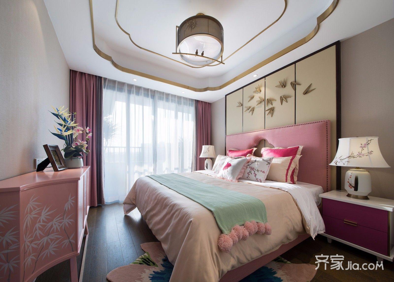 新中式别墅装修卧室效果图