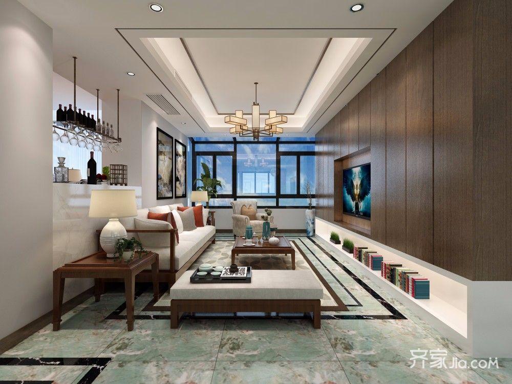 170平现代中式风格客厅装修效果图